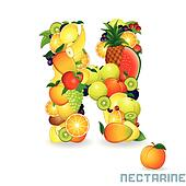 Vector Alphabet From Fruit. Letter N