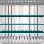 3D blue shelves