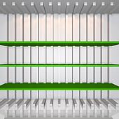 3D green shelves