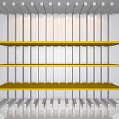 3D yellow shelves