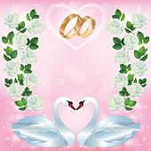 Wedding greeting or invitation card with pair of swans