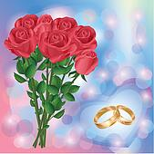 Wedding greeting or invitation card with red roses