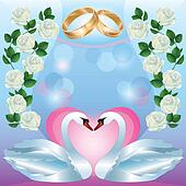 Wedding greeting or invitation card with swans
