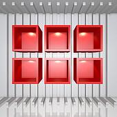 3D red shelves