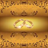 Wedding greeting or invitation card with wedding rings