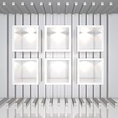 3D white shelves
