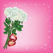 Wedding greeting or invitation cards with bouquet of white roses and wedding rings
