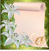 Wedding invitation or greeting card with lily flowers