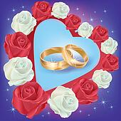 Wedding rings with white and red roses