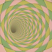 3d render diagonal tiled tunnel pink yellow olive green