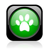 animal footprint black and green square web glossy icon
