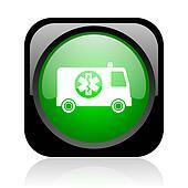 ambulance black and green square web glossy icon