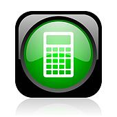 calculator black and green square web glossy icon
