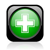 pharmacy black and green square web glossy icon