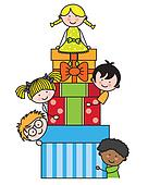 Children with gift packages