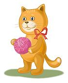 Cartoon cat with a ball of wool yarn