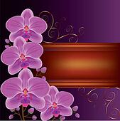 Background with exotic flower orchids, decorated with golden cur