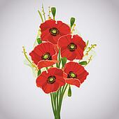 Beautiful celebratory bouquet of red poppies