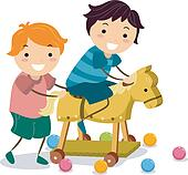 Boys with a Wooden Toy Horse