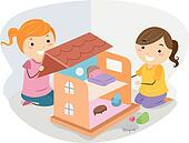 Girls Playing with a Dollhouse