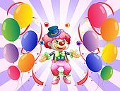 A clown juggling in the middle of the balloons