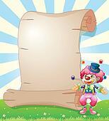 A clown juggling beside a long paper scroll