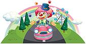 A clown riding in a pink car while juggling