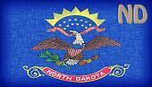 Linen flag of the US state of North Dakota