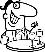 waiter in restaurant cartoon illustration
