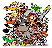 Animals cartoon.WBG.