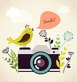 old vintage camera with bird