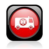 ambulance black and red square web glossy icon