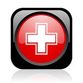pharmacy black and red square web glossy icon