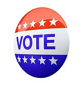 American vote button isolated on background