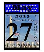 2013 memorial day calendar icon