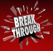 Breakthrough Break Through Word Glass Breaking