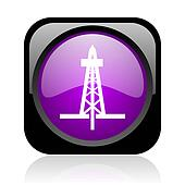 drilling black and violet square web glossy icon
