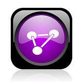 chemistry black and violet square web glossy icon