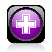 pharmacy black and violet square web glossy icon