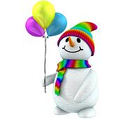 3d snowman with balloons