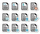CV - Curriculum vitae, resume icons