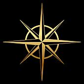 Vector gold compass rose icon