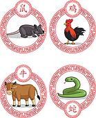 Chinese Zodiac Animal - Ox, Rat, Ro