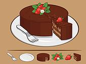 Chocolate Cake with Strawberry on P