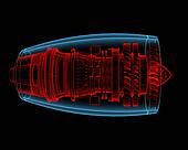 Turbo jet engine (3D xray red and b