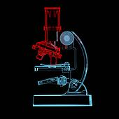 Microscope (3D xray red and blue transparent)
