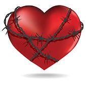 Barbed heart. Vector.