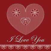Valentine card with lace heart