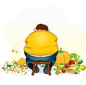 Fatty Vegan Man eating Fruits and Vegetable