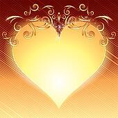 Valentine's Day Golden Heart Frame